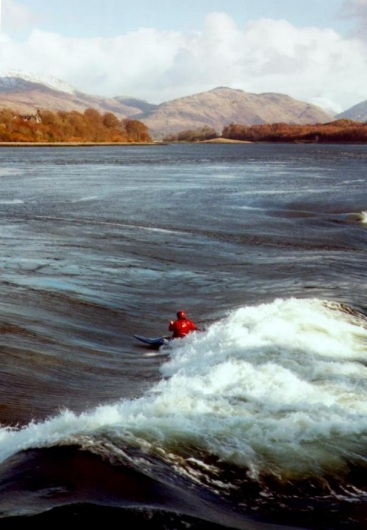 Gwyn on the Forever wave, Falls of Lora, western Scotland